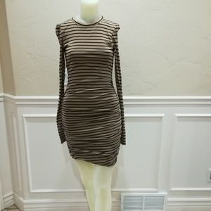 A.L.C. brown and black stripes dress